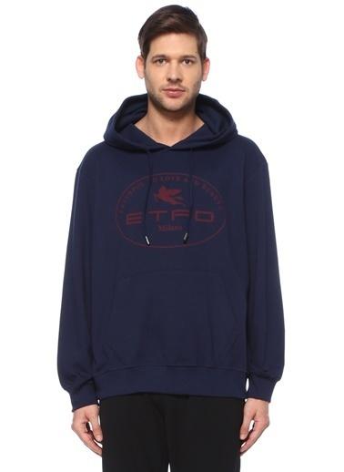 Etro Etro  Kapüşonlu Logo Baskılı Sweatshirt 101617928 Mavi